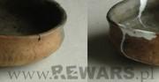 ceramika archeologiczna - kultura łużycka; dla PRIMA PORTA Antiquities [po lewej stan przed konserwacją, pośrodku stan w trakcie konserwacji, po prawej stan po konserwacji]