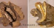 ceramiczna głowa - I poł. XX wieku [po lewej stan przed konserwacją, pośrodku stan w trakcie konserwacji, po prawej stan po konserwacji]