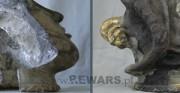ceramiczna głowa - I poł. XX wieku [po lewej stan po usunięciu elementów mocujących z wnętrza głowy, po prawej stan po uzupełnieniu czerepu]