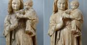Madonna z Dzieciątkiem - 2 poł XIV wieku [po lewej stan przed konserwacją, po prawej stan po konserwacji]
