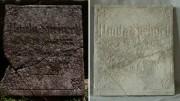 lico płyty nagrobnej z cmentarza żydowskiego [po lewej stan przed konserwacją, po prawej stan po konserwacji]