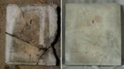 odwrocie płyty nagrobnej z cmentarza żydowskiego  [po lewej stan przed konserwacją, po prawej stan po konserwacji]