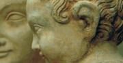 Madonna z Dzieciątkiem - 2 poł XIV wieku [u góry rzeźba po zdemontowaniu wtórnie umieszczonej w nieprawidłowy sposób głowy Chrystusa, po lewej zdemontowana głowa, po prawej rzeźba po poprawnym zamontowaniu głowy Chrystusa - stan po uzupełnieniu brakujących elementów i scaleniu kolorystycznym]