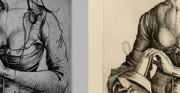 Panna głupia - Martin Schongauer - XV wiek; grafika [po lewej oryginał, po prawej kopia]