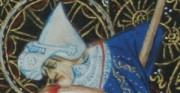 Święty Jerzy - 2 poł. XIV wieku; fragment miniatury na pergaminie [po lewej oryginał, po prawej kopia; miarka centymetrowa]