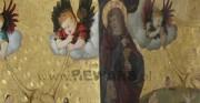 Sąd Ostateczny - 2 poł. XV wieku; złocenie na pulment, technika olejna [po prawej oryginał, po lewej kopia fragmentu]