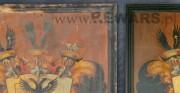 tablica herbowa rodu von Wartensleben - 2 poł. XVIII wieku; olej na drewnie [po lewej stan przed konserwacją, po prawej stan po konserwacji]