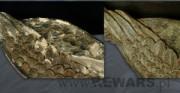 Krucyfiks Serafiński - 2 poł. XIV wieku; pełnoplastyczna rzeźba drewniana, polichromowana [po lewej stan przed konserwacją, pośrodku  stan w trakcie konserwacji, po prawej stan po konserwacji]