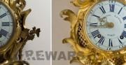 Zegar złocony typu kartel z kolekcji Muzeum Łazienki Królewskie w Warszawie - po lewej stan przed konserwacją i restauracją, po prawej stan po konserwacji i restauracji