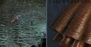 rzeźba Polonia Restituta Franciszka Masiaka - 1937 rok; blacha miedziana, stal [po lewej stan przed konserwacją, po prawej stan po konserwacji]