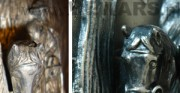 płaskorzeźba z cyklu przedstawiajacego pory roku - fragment; srebrzony metal, drewno [po lewej stan przed konserwacją i restauracją, po prawej stan po konserwacji i restauracji]