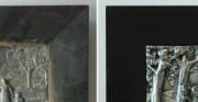 płaskorzeźba z cyklu przedstawiajacego pory roku - srebrzony metal, drewno [po lewej stan przed konserwacją i restauracją, po prawej stan po konserwacji i restauracji]