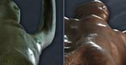 rzeźba Polonia Restituta Franciszka Masiaka - 1937 rok; blacha miedziana, stal [po lewej stan przed konserwacją z widocznymi deformacjami i wgnieceniami, po prawej stan po konserwacji]