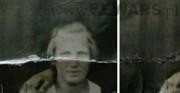 fotografia 2 - fragment lica [po lewej stan przed konserwacją, po prawej stan po konserwacji]