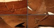 wysoki but dziecięcy - XIV wiek, skóra archeologiczna [po lewej u góry stan przed konserwacją, po prawej stan po konserwacji, pozostałe zdjęcia stan w trakcie konserwacji i restauracji]