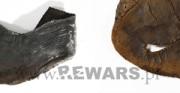 but niski - XIV wiek, skóra archeologiczna [po lewej stan przed konserwacją, po prawej stan po konserwacji]