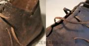 złączenie rozerwanego rzemienia - skóra archeologiczna [po lewej rozerwany rzemień, po prawej rzemień złączony]