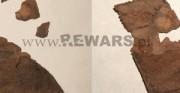 scalenie elementów przyszwy buta - skóra archeologiczna [po lewej stan przed scaleniem, po prawej stan po scaleniu]