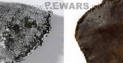 piłka - średniowiecze, skóra archeologiczna [po lewej stan przed konserwacją, po prawej stan po konserwacji]