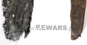 pochwa noża - średniowiecze, skóra archeologiczna [po lewej stan przed konserwacją, po prawej stan po konserwacji]