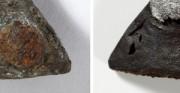 skóra z metalowymi elementami - obiekt archeologiczny [po lewej stan przed konserwacją, po prawej stan po konserwacji]