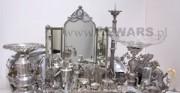 Sterlingsilber und Silberplatte aus dem Museum von Warschau - [von oben: vor und nach der Konservierung und Restaurierung]