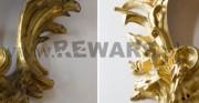 Kartel złocony - [od lewej: stan przed konserwacją i po konserwacji i restauracji]