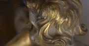 Kartel złocony, detal - [od lewej: stan przed konserwacją i po konserwacji i restauracji]